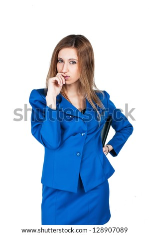 girl in a business suit, thoughtful look, chin propped - stock photo