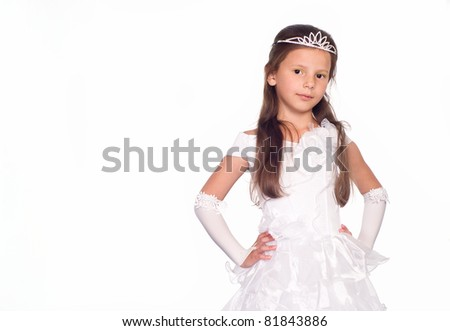 girl in a dress of princess on white