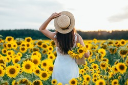 Girl in a hat with sunflowers in the field
