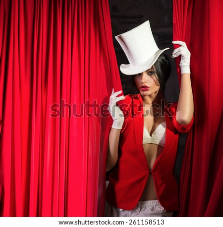 girl in a jacket and top hat ...