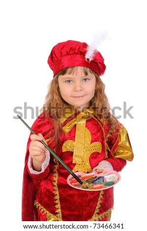 Girl in a red historical suit with a brush and paints. Isolated on white