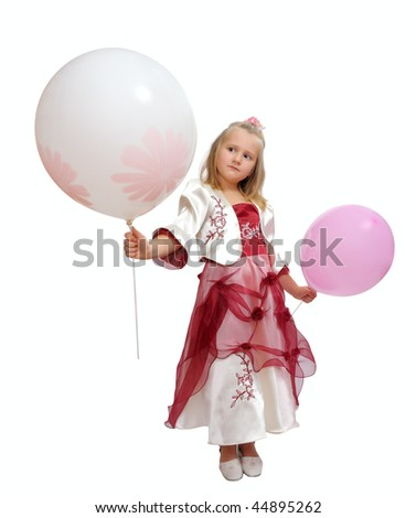 Girl in a smart dress holding a balloons. #44895262