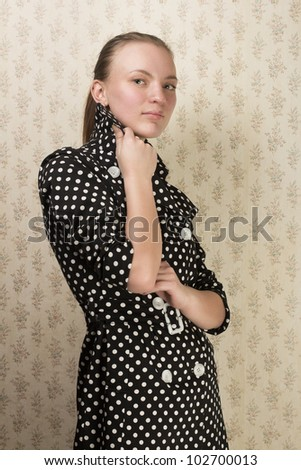 girl in a vintage dress - stock photo