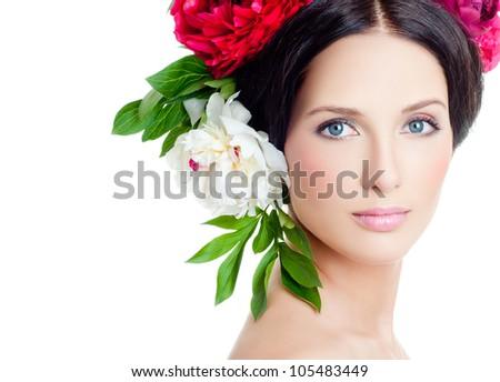 Girl in a wreath of flowers