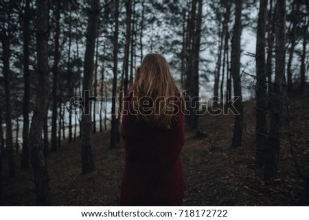 Girl in autumn forest, nature background #718172722