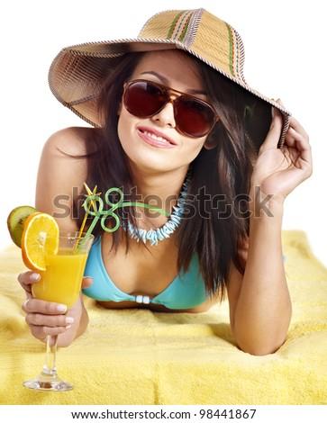Girl in bikini drink juice through straw. Isolated.