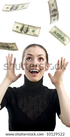 girl in black blouse strewing with money