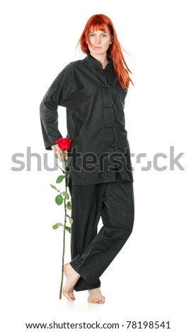 girl in black kimono with red rose, isolated on white