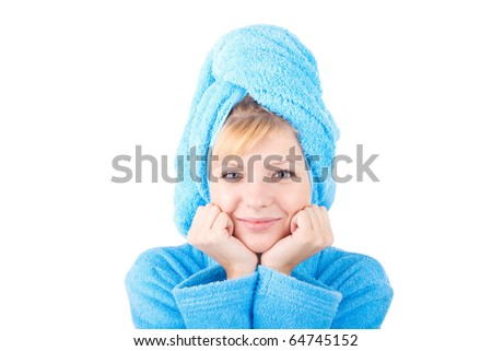 girl in blue towel on white - stock photo