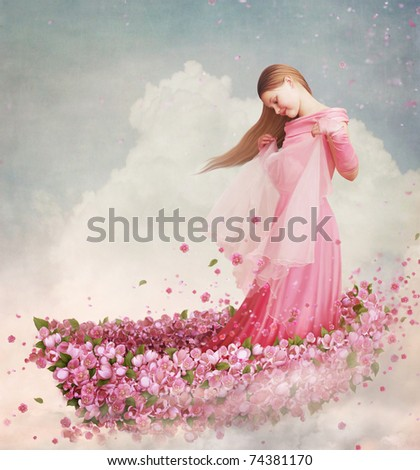Girl in  boat of flowers - stock photo
