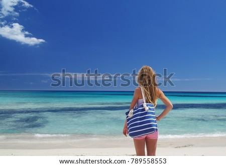 Girl in Cala Millor, Mallorca, Spain. #789558553