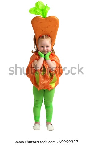 Girl in carrot costume isolated on a white background - stock photo