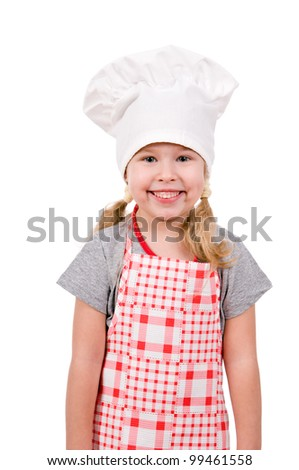 girl in chef's hat isolated on white background