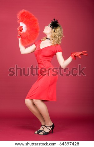 girl in classic red dress