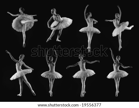 Girl in 8 classical ballet poses