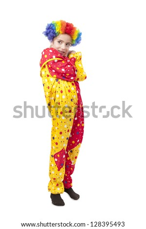 girl in clown costume, isolated on white background