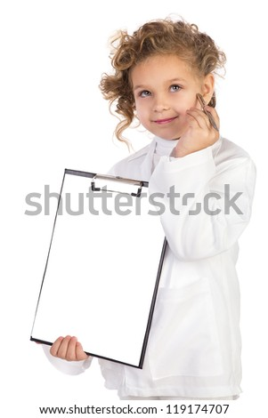 Girl in costume of doctor takes notes. Isolated on white background