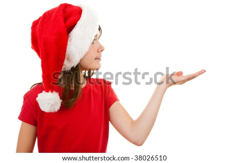 Girl in disguise Santa Claus isolated on white background