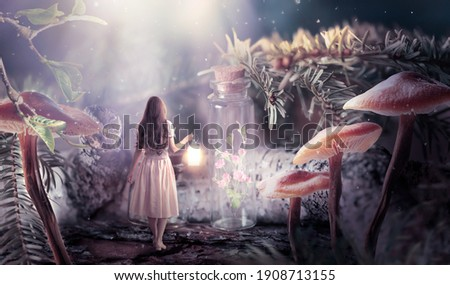 Girl in dress with shining lantern in hand walking in fantasy fairy tale elf forest, ghost rose flower bloom locked in bottle and moon rays, mysterious fir tree and mushrooms in magical elvish wood