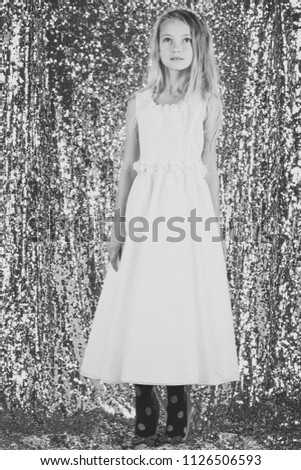 girl in evening dress. Fashion and beauty, little princess. Look, hairdresser, makeup. Fashion model on silver background, beauty #1126506593