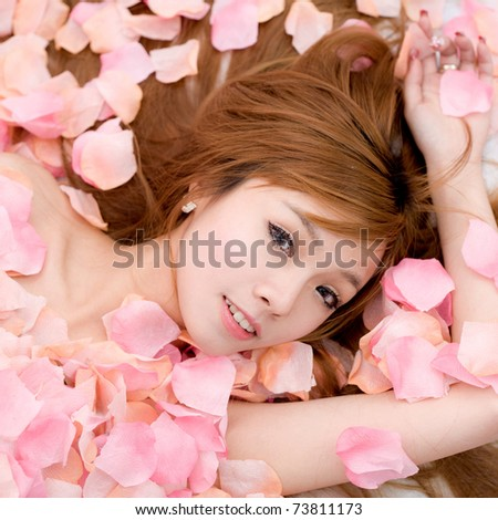 Girl in flower - stock photo