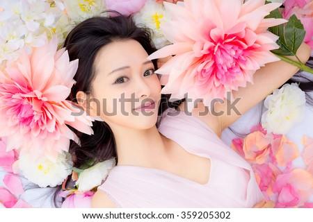 Girl in flower good sleep
