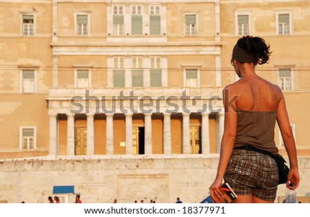 Girl in front of Greek parliament  in Athens Greece