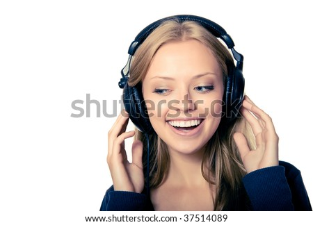 stock photo : girl in headphones listening music