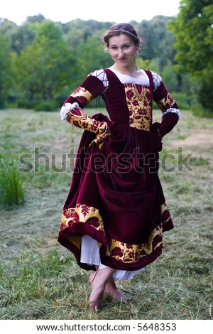 Girl Dress on Girl In Italian Renaissance Dress In Park Stock Photo 5648353