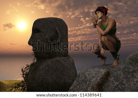 Girl in leafy clothing rests on rock near Easter Island style statues overlooking the ocean at sunset