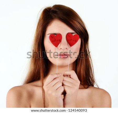 girl in love with hearts near the eyes