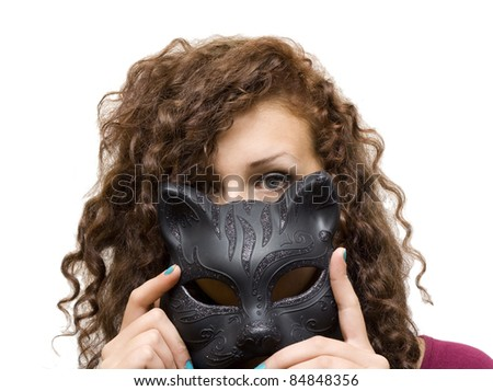 Girl in mask cat isolated on white background