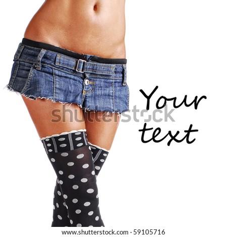 girl in mini skirt - stock photo