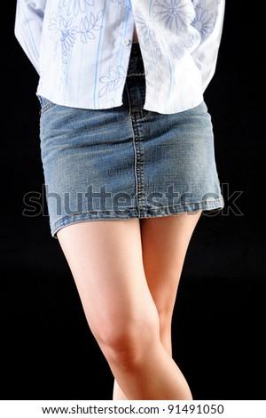 Girl in miniskirt - stock photo