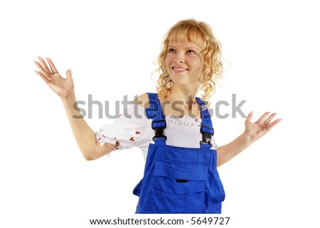 Girl in overalls. Isolated on white.