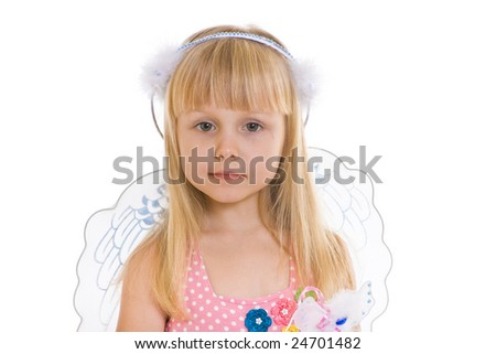 girl in pink dress and with angel wings #24701482