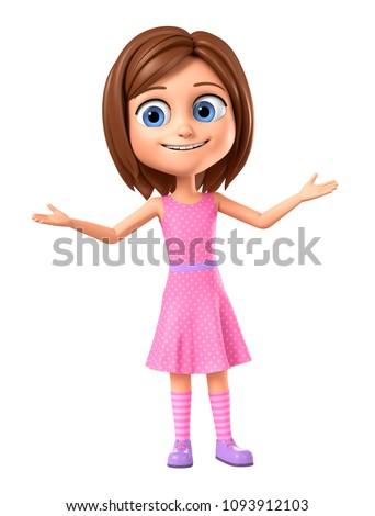 Girl in pink dress on white background hands up. 3d render illustration.