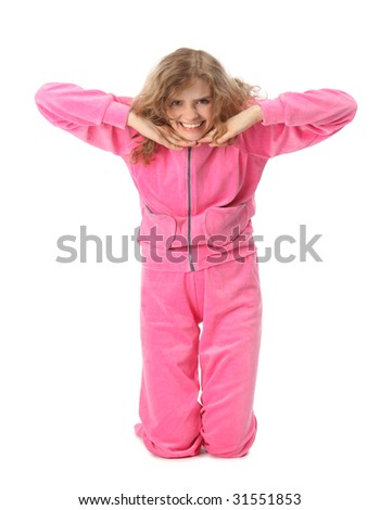 Girl in pink sport clothes represents  letter T