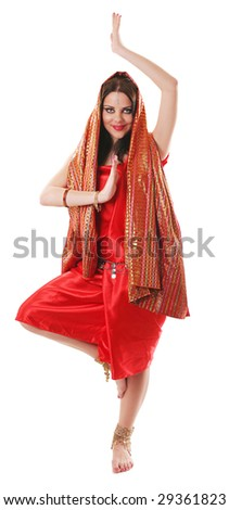 girl in red dancing in indian style on white with clipping path