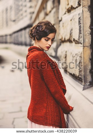 girl in retro dress on a...