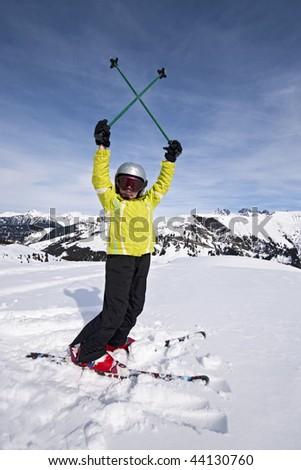 Girl in ski, Areches, Savoie, Beaufortain France