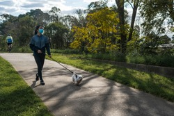 Girl in surgical mask in casual urban athletic wear walking with pet dog on a leash at a nature park on a footpath stylized to highlight mask during covid-19 pandemic social distancing isolation