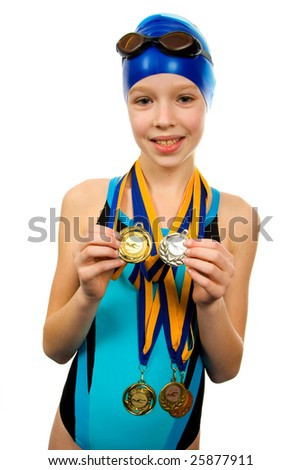 Girl in swimsuit with medals isolated on white background