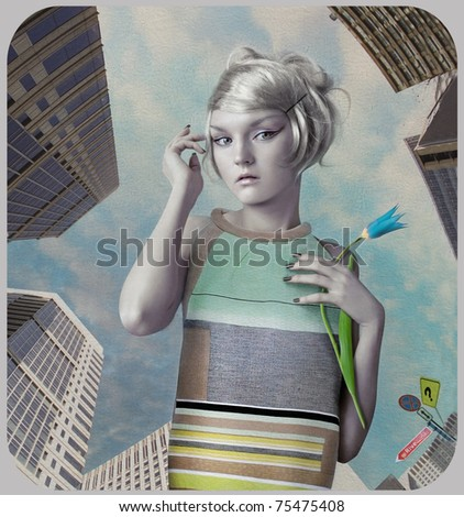 Girl in the big city. Art-photo in retro style