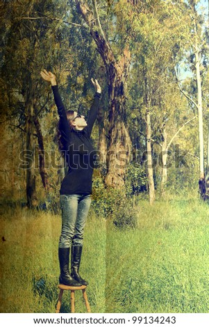 girl in the field. Photo in old color image style.