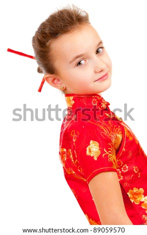Girl in the Japanese style isolated over white background