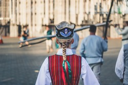 Girl in the Latvian folk dress at Latvian Song and Dance Festival