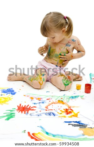 Girl in the paint, white background