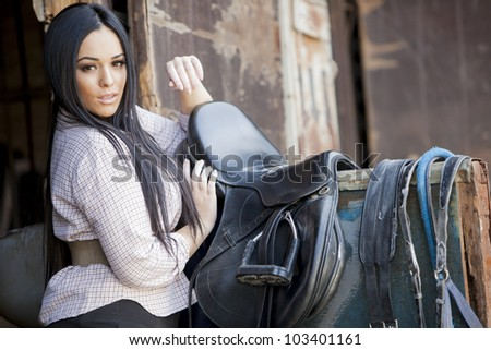 Girl in the stable