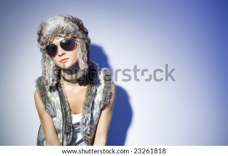 girl in trendy winter clothes